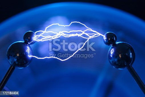 Multiple arc electrical discharge from a Wimshurst generator.