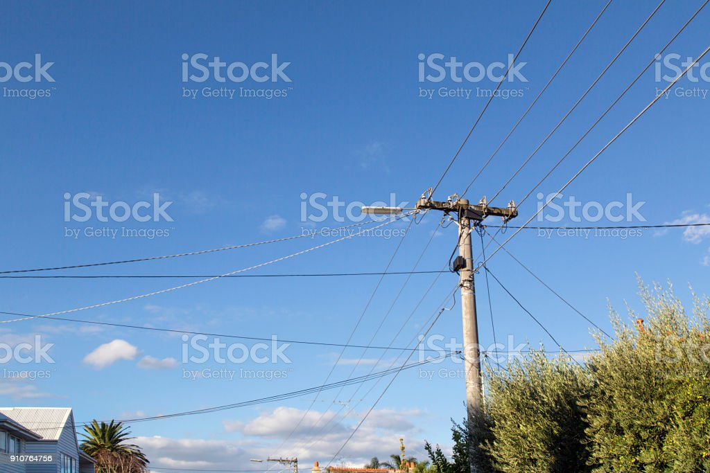 Electricity Post with Cable Lines stock photo