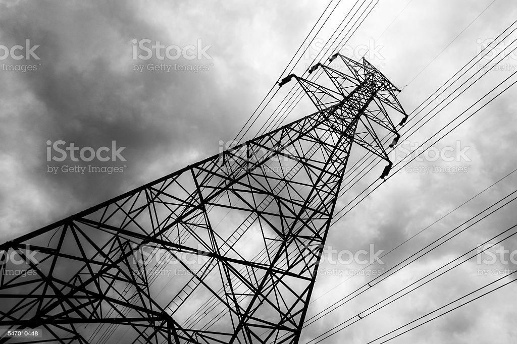 electricity post with rainy cloudy sky – Foto