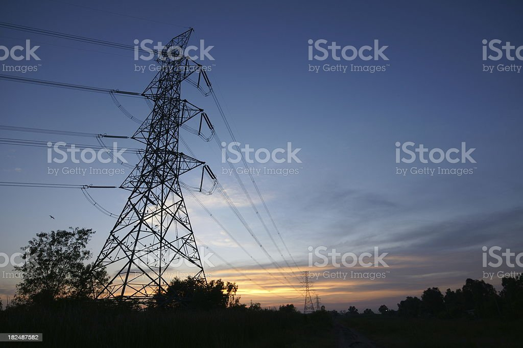 Electricity Power line on sunset time and beauty sky royalty-free stock photo
