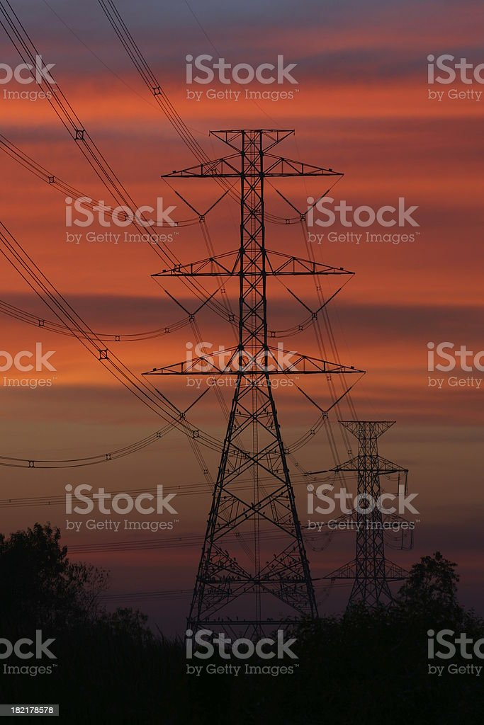 Electricity Power line on sunset time with beauty sky vertical royalty-free stock photo