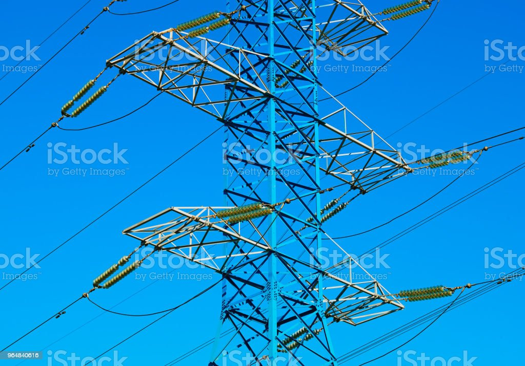 Electricity power lines city background royalty-free stock photo