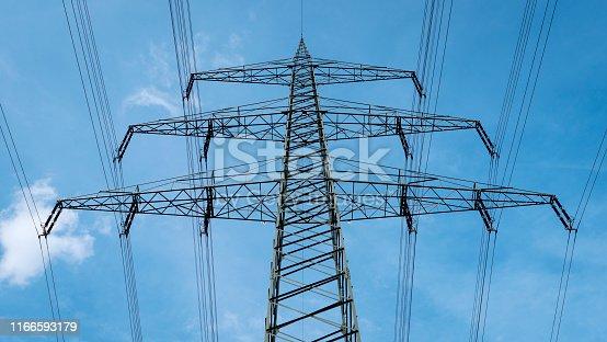 Electricity pylon - low-angle view