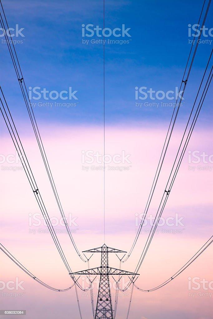 Electricity pylon on toned background stock photo