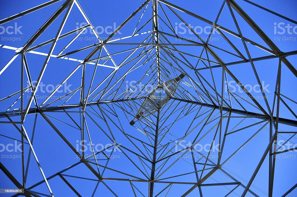 electricity pylon - power transmission tower seen from inside, Lesotho stock photo