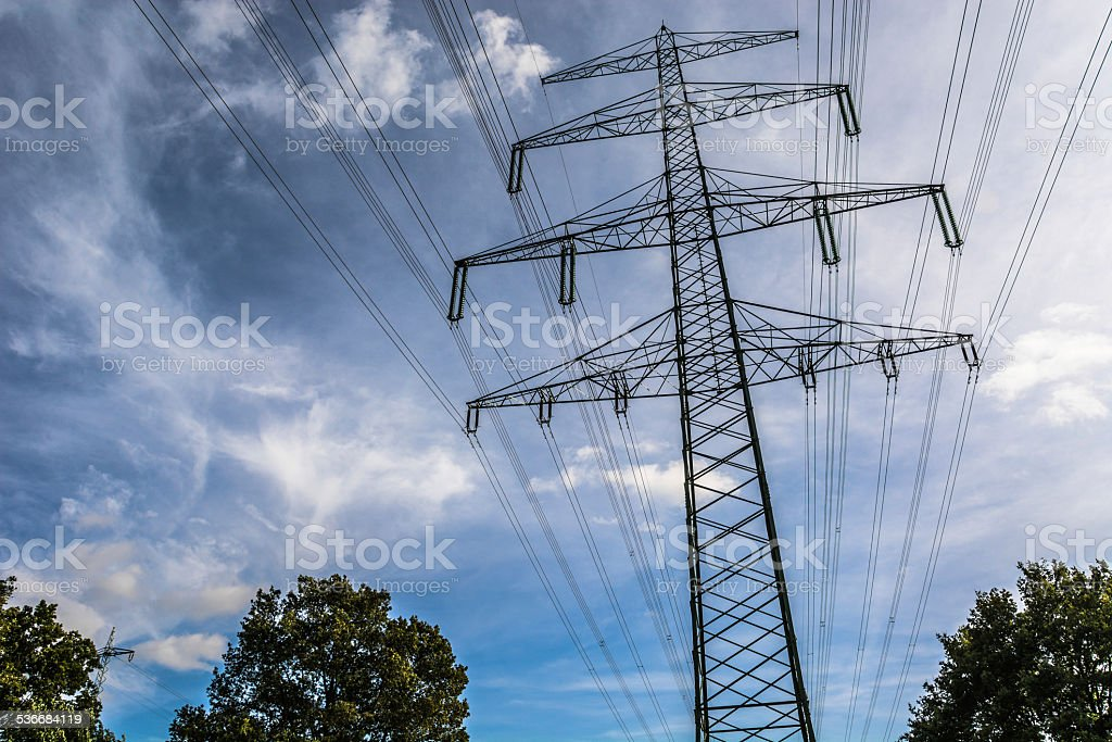 Electricity Pylon Tower in Landscape stock photo
