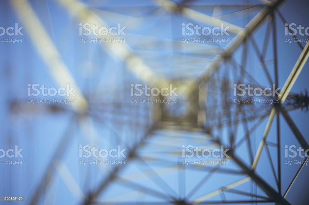 Electricity Pylon Tower looking up - UK stock photo