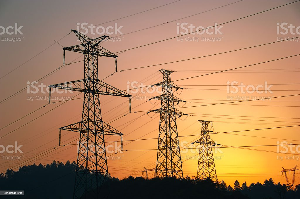 Electricity pylon with electrical wires stock photo