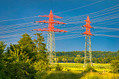 Electricity pylons in bright red color