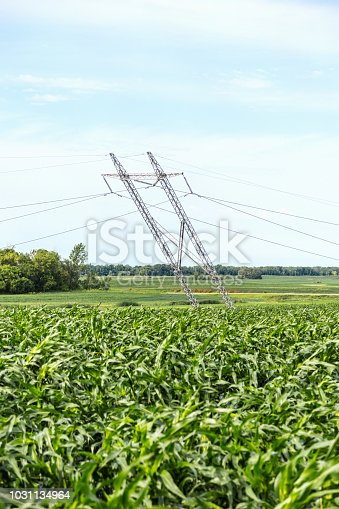 Damaged electricity pylons in field after a severe storm.
