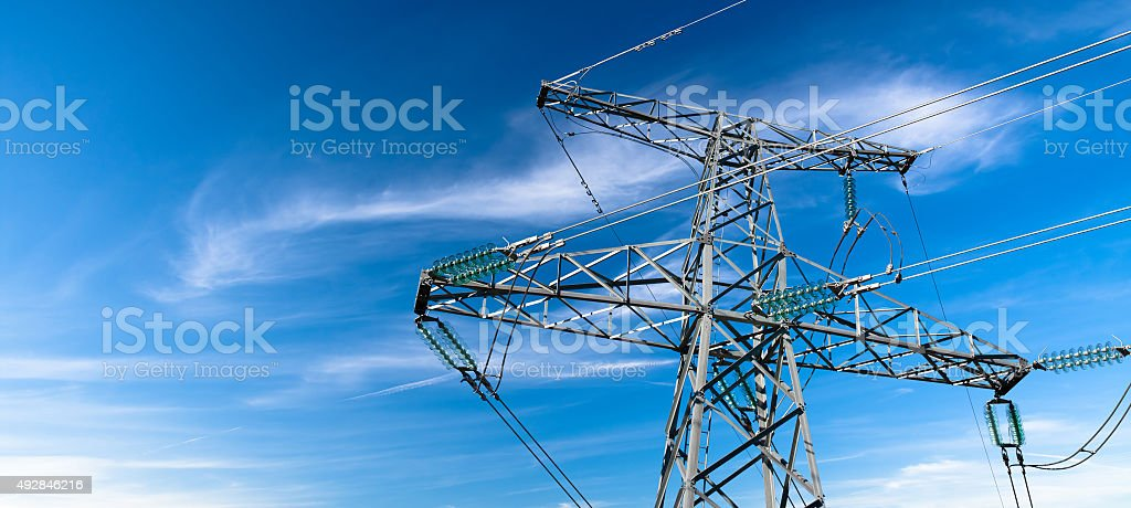 Electricity pylyn stock photo