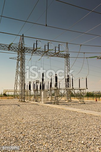 Electricity relay station with high-voltage insulator, Turkey