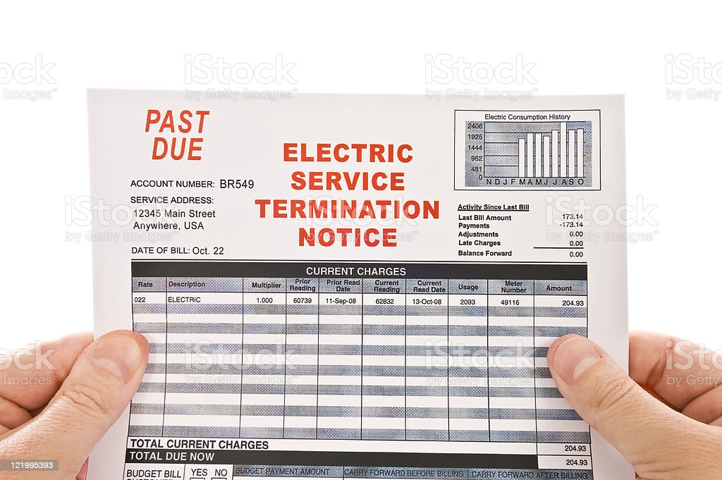 Electricity Service Past Due Bill royalty-free stock photo