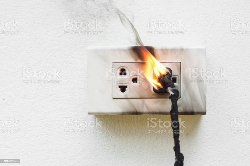 Electricity short circuit stock photo