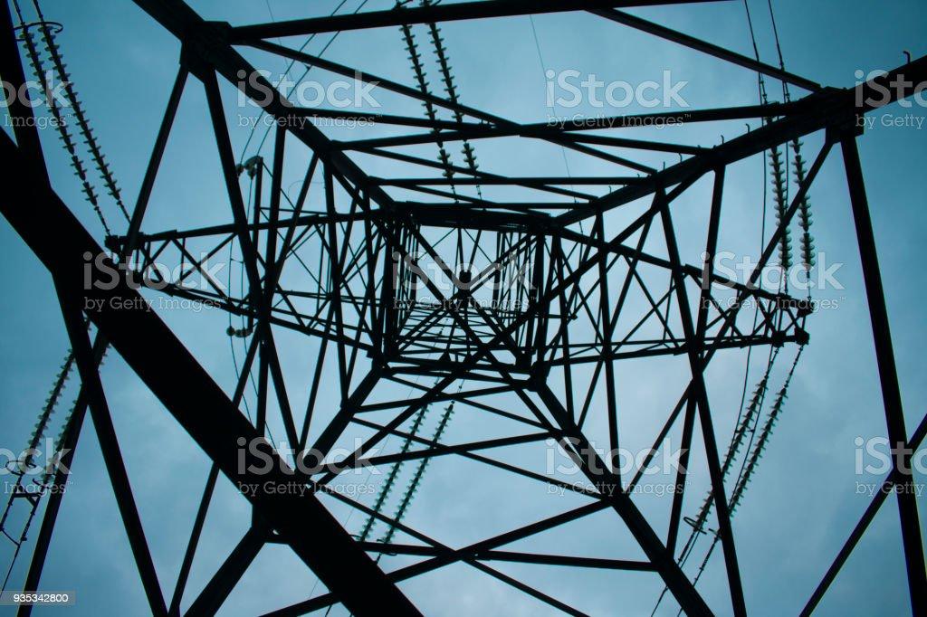 Electricity supply of Ukraine-power transmission line 330 kV stock photo