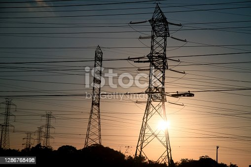 camacari, bahia / brazil - september 27, 2020: tower are joined together with electric power transmission lines are seen in substation in the city of Camacari.