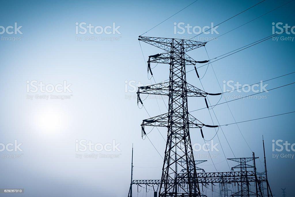 electricity pylon Umrisse Übertragung – Foto