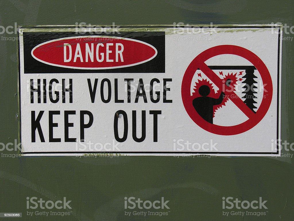 Electricity warning sign royalty-free stock photo