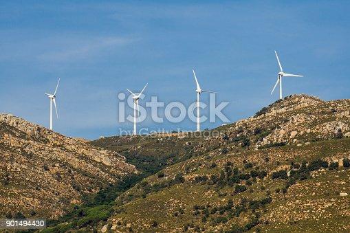 Electricity windmills on the hills. Tarifa. Spain.