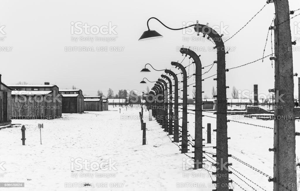 Elektrifizierte Stacheldrahtzaun des KZ Auschwitz-Birkenau. – Foto