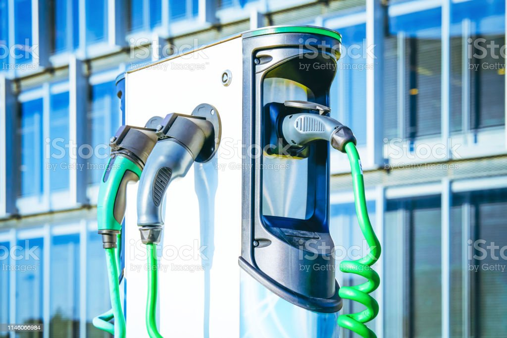 Electro charging station Electro charging station in the city Alternative Fuel Vehicle Stock Photo