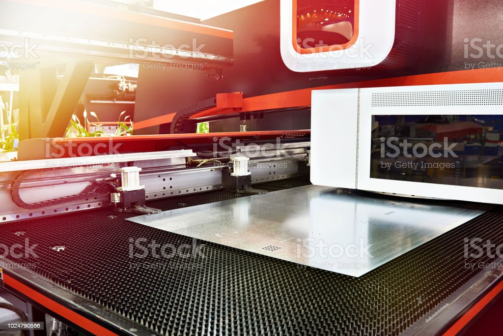 Electro mechanical coordinate and turret punch press CNC stock photo