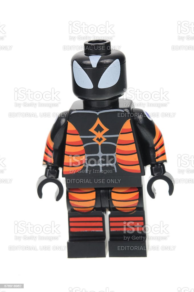 Electro Proof Suit Spiderman Lego Minifigure stock photo