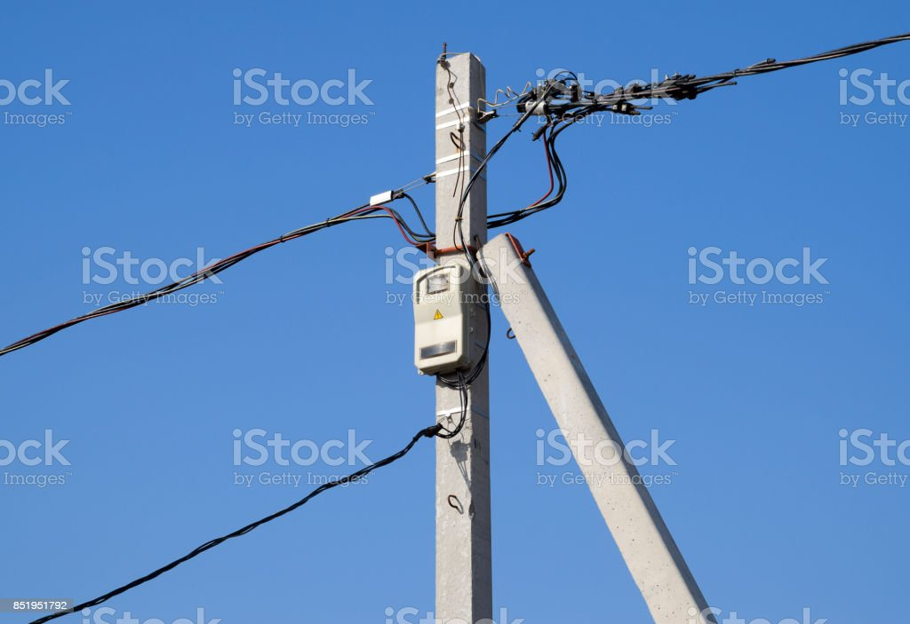 Electro-bolt with a counter and wires, a torsad on a pole. stock photo