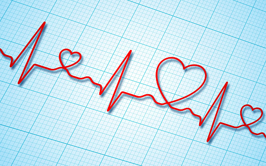 Electrocardiogram and heart pattern background (health concept)