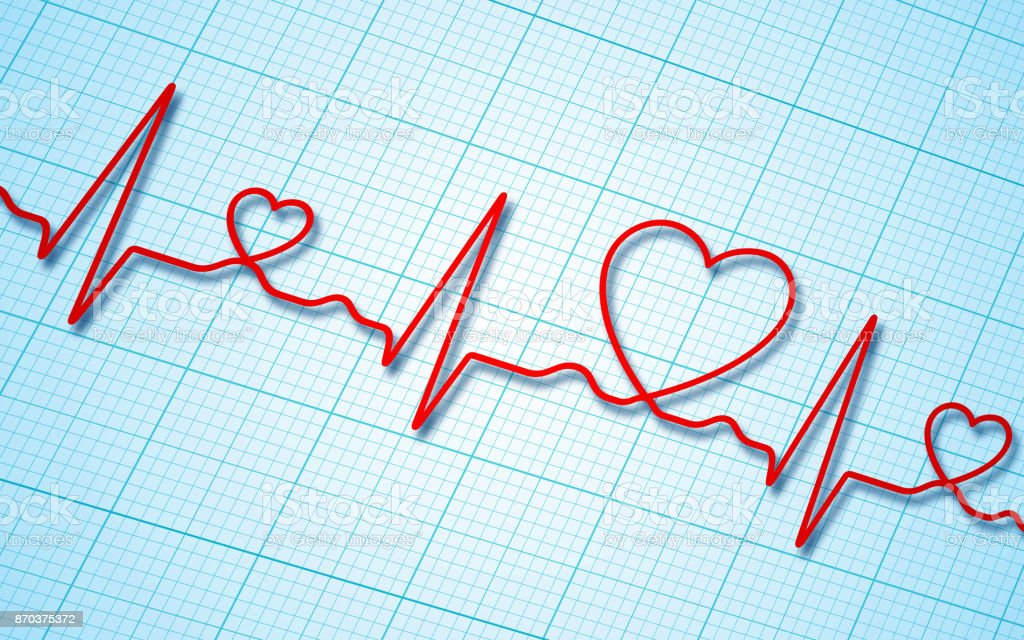 Electrocardiogram and heart pattern background (health concept) stock photo