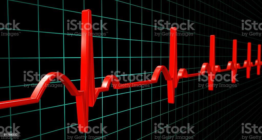 Electrocardiogram heartbeat (XXXL) royalty-free stock photo