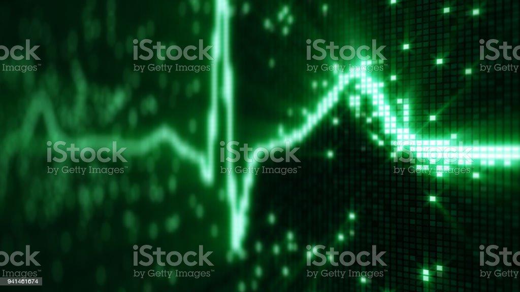 EKG electrocardiogram pulse waveform on pixelated screen stock photo