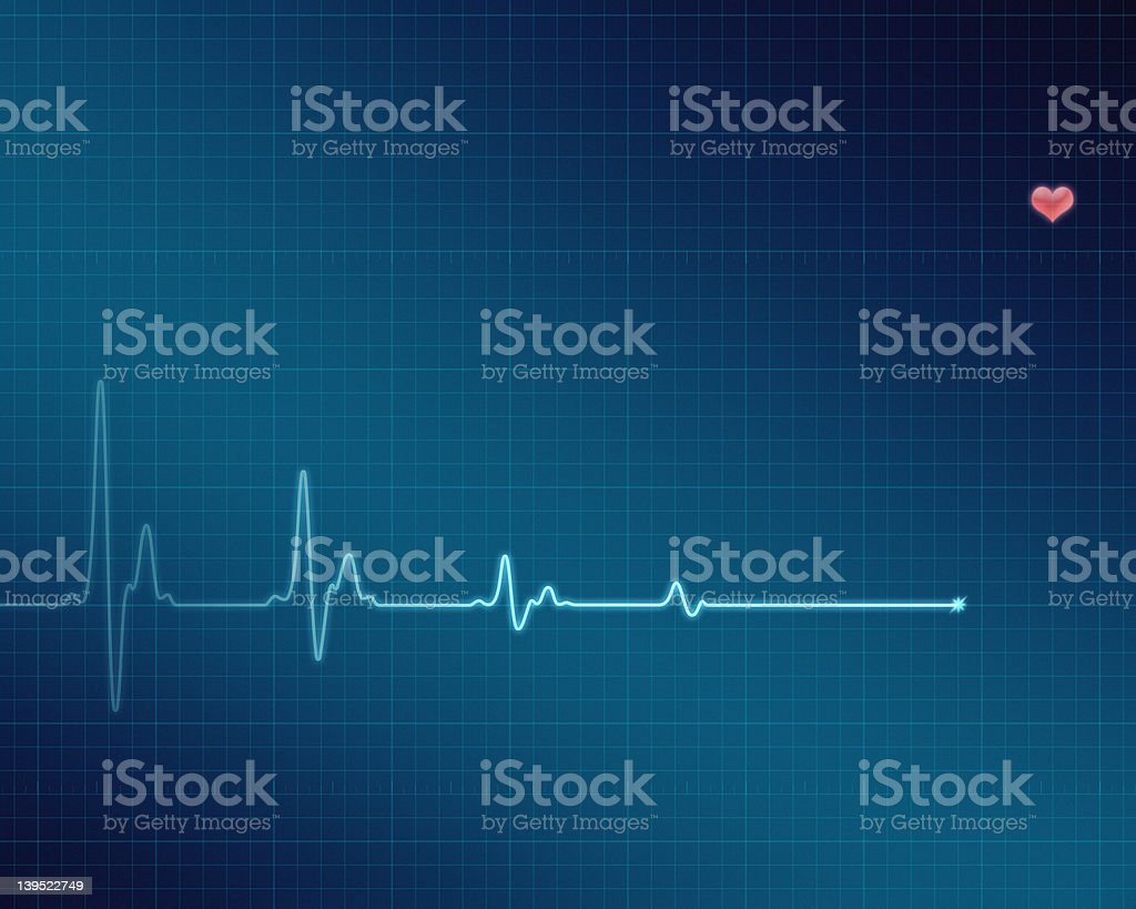 Electrocardiogram (ECG/EKG) screen with flatline stock photo