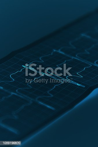 istock Electrocardiogram. Vertical fragment. Blue tone image, futuristic style. 1059196820