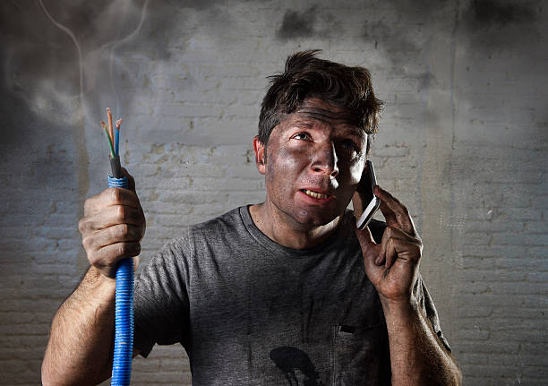 electrocuted man calling for help in dirty burnt funny face - rudeness stock pictures, royalty-free photos & images