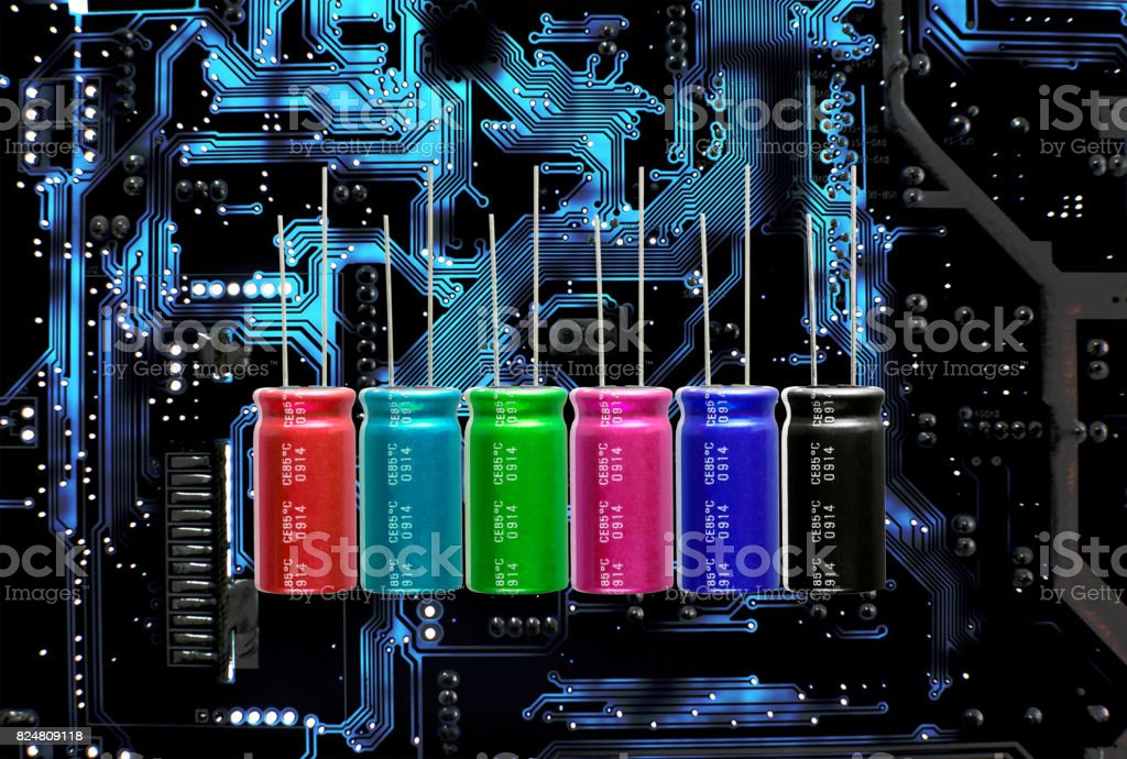 Electrolytic Capacitors, multi-color and many sizes stock photo