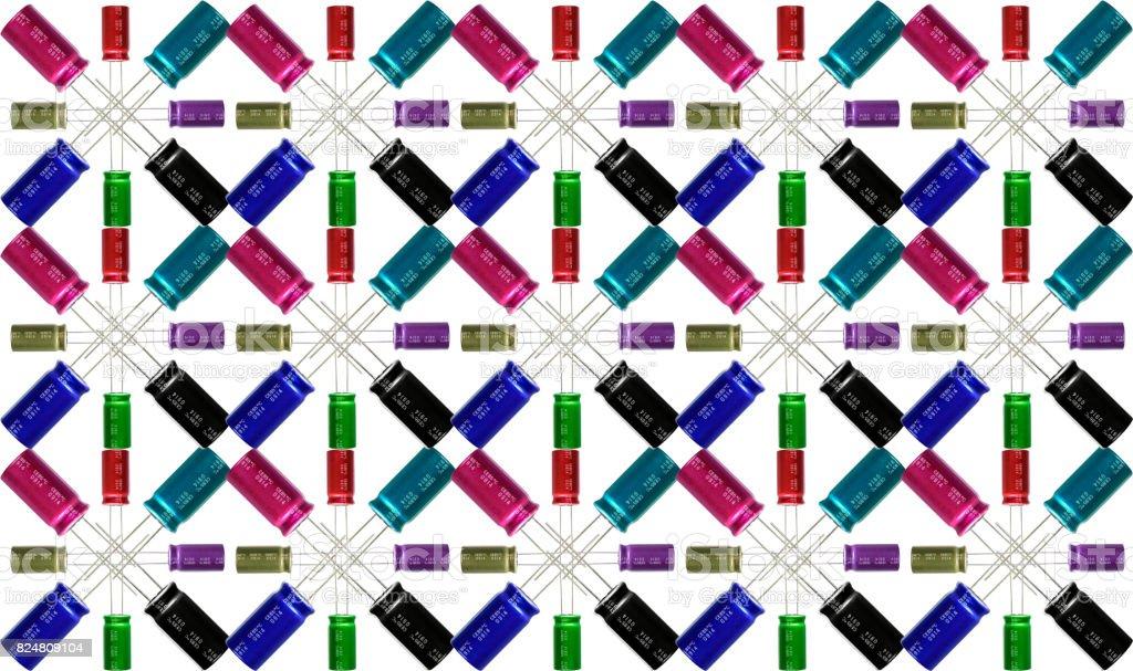 Electrolytic Capacitors Pattern. stock photo