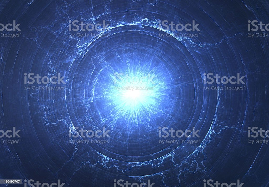 Electromagnetic field or space travel concept - Tesla coil stock photo