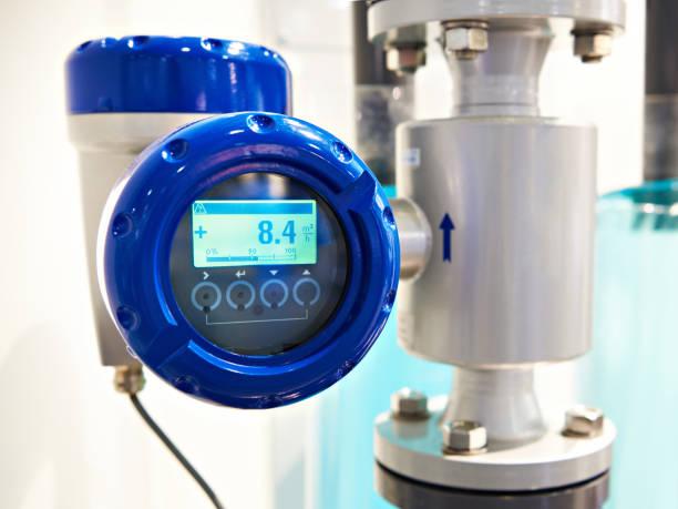Electromagnetic flowmeter detector stock photo