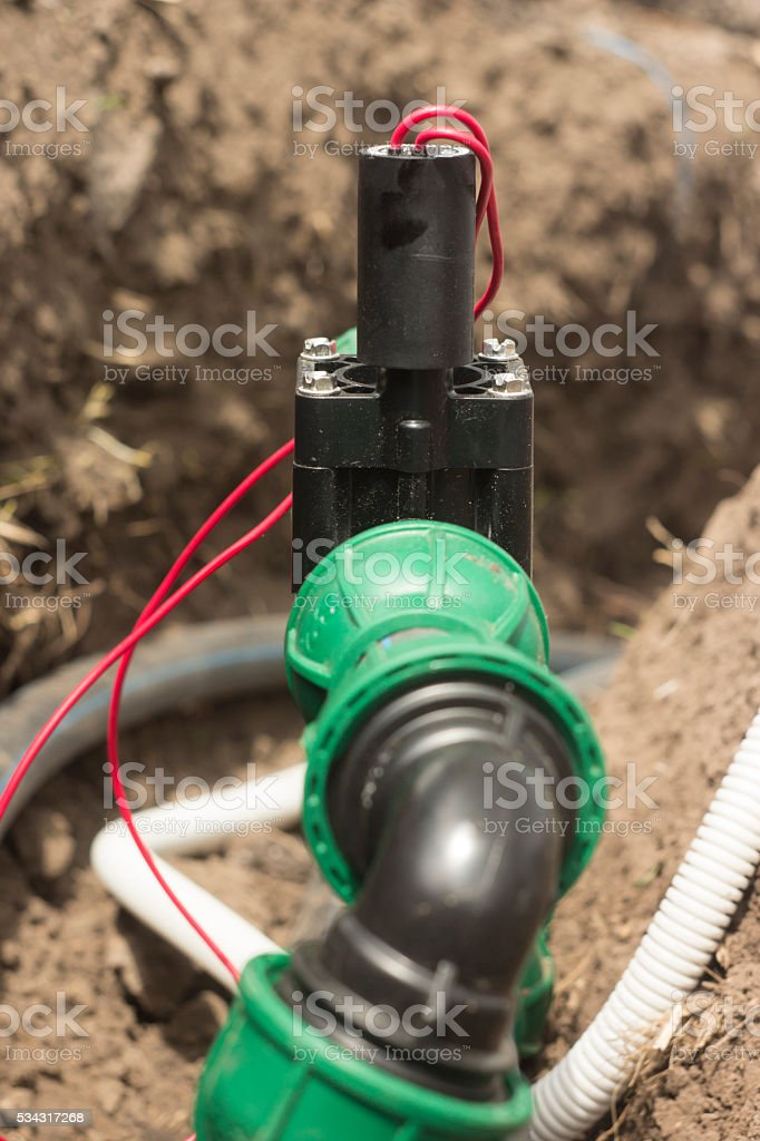 Electromagnetic valve of automatic watering systems stock photo