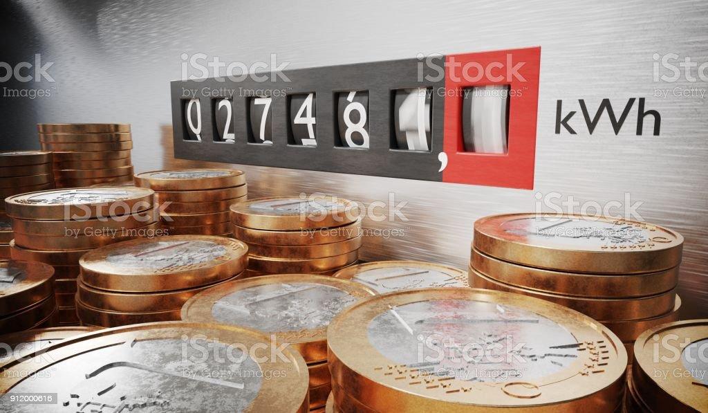 Electrómetro es medir el consumo de energía. Monedas en primer plano. Concepto de electricidad cara. 3D prestados ilustración. foto de stock libre de derechos