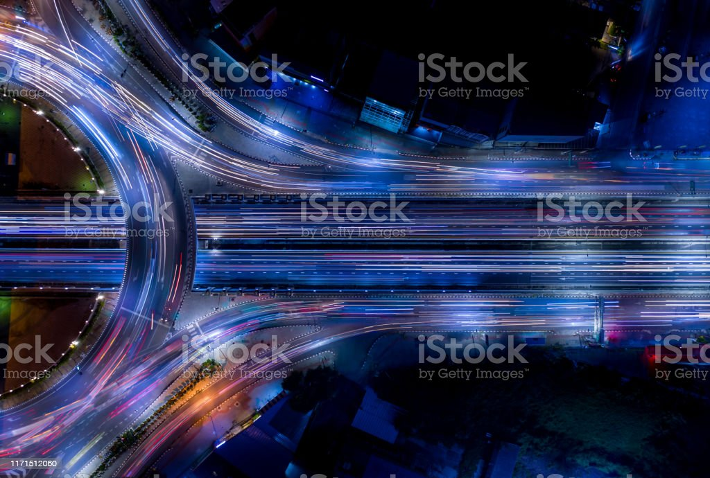 Electron of Traffic light tail that show it is a life build of infrastructure road and economic system transportation and communication - Royalty-free Ao Ar Livre Foto de stock