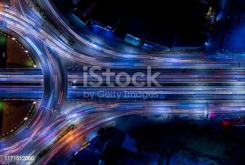 istock Electron of Traffic light tail that show it is a life build of infrastructure road and economic system transportation and communication 1171512060