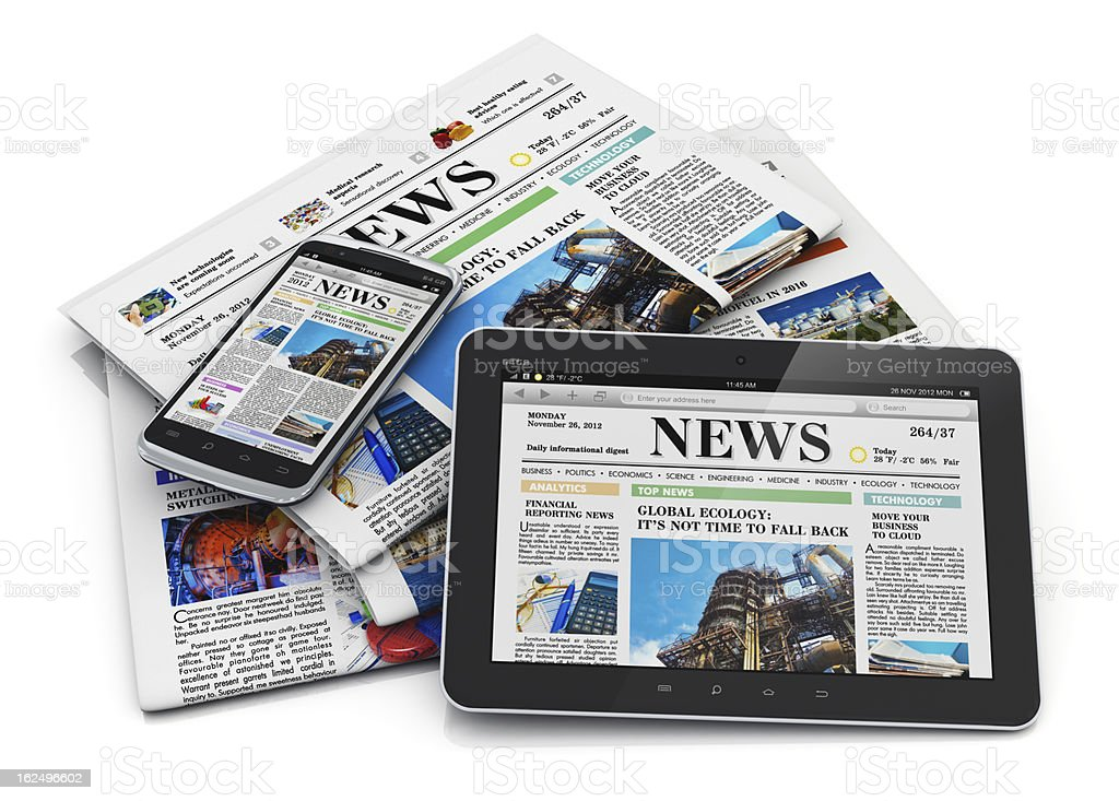 Electronic and paper media concept stock photo