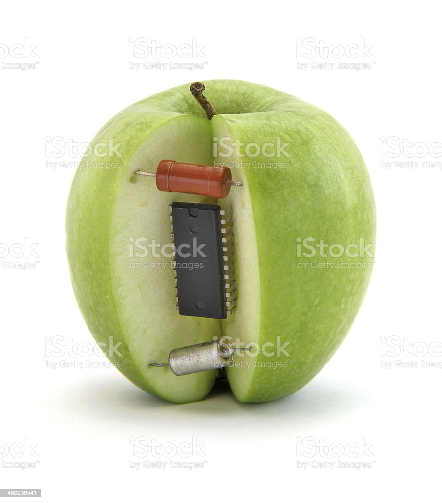 Electronic apple stock photo
