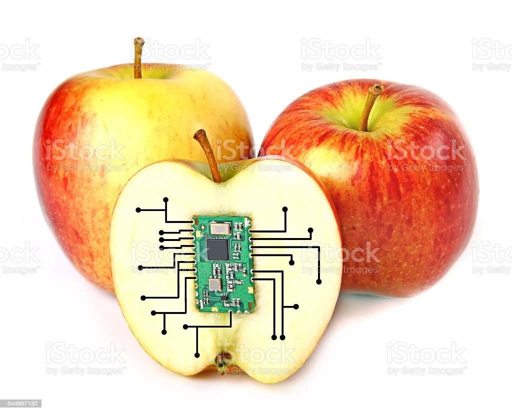 Electronic apples stock photo