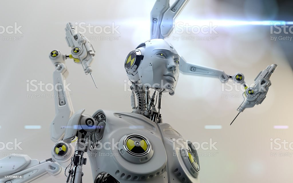 Electronic arms working on a robot with human figure royalty-free stock photo