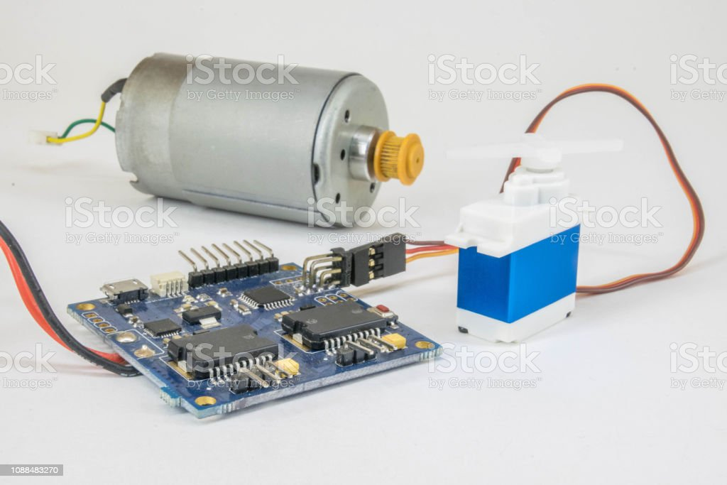 Electronic assembly with Arduino stock photo