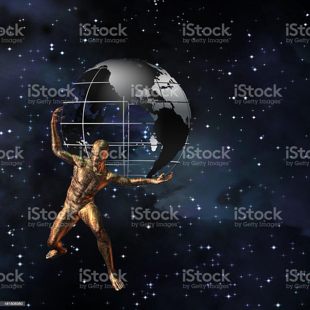 Electronic Atlas World stock photo