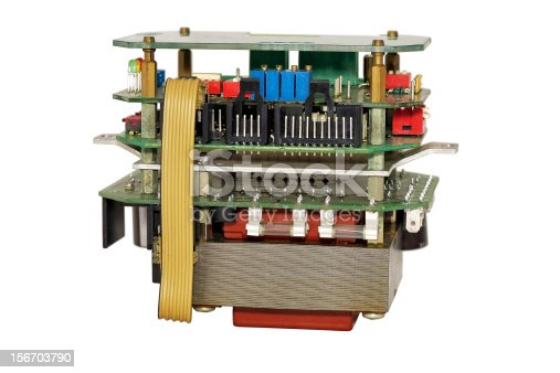 Electronic unit with industrial equipment, isolated on white background.